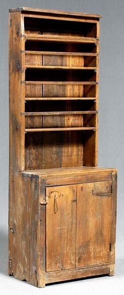 15: Pine diminutive step back cupboard,