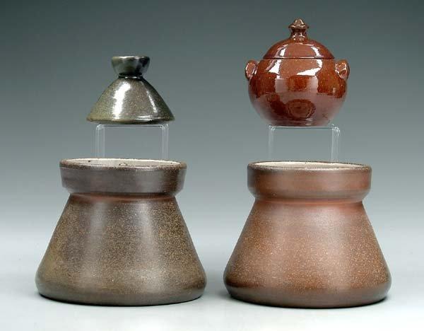 17: Four pieces Ben Owen pottery: