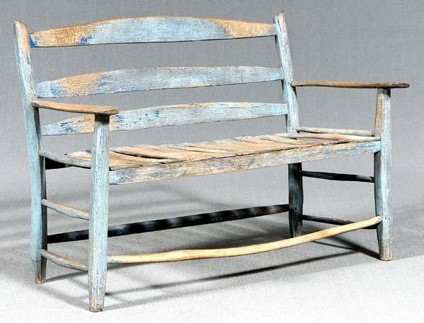 18: Blue rustic settee,