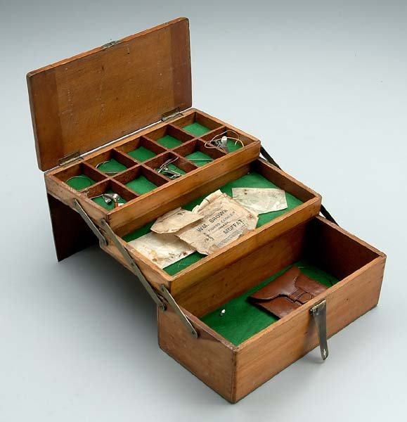 544: Unusual wooden tackle box,