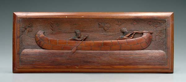 547: Carved plaque, canoe and Indians,