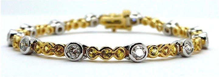 4.82ct Diamond and Sapphire 14K Gold Two Tone Bracelet