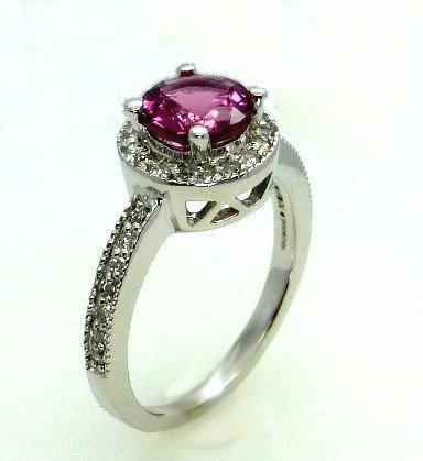 1.50ct Diamond and Pink Tourmaline14k White Gold Ring