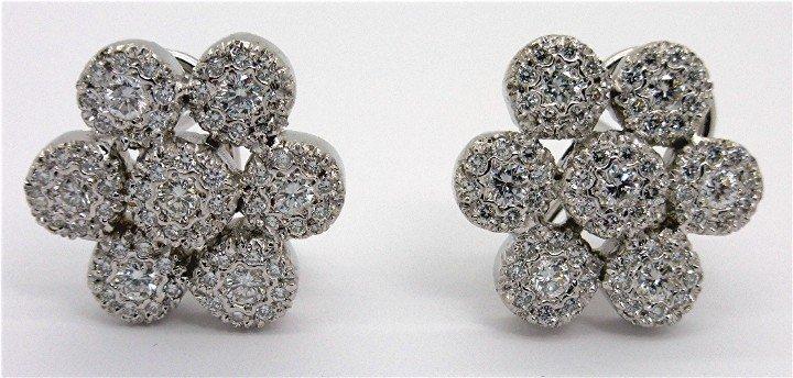 2.25ct Stunning Diamond 14k White Gold Cluster Earring