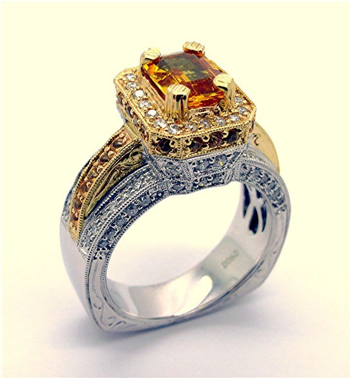 2.75ct Diamond and Yellow Sapphire 14K Two Tone Ring