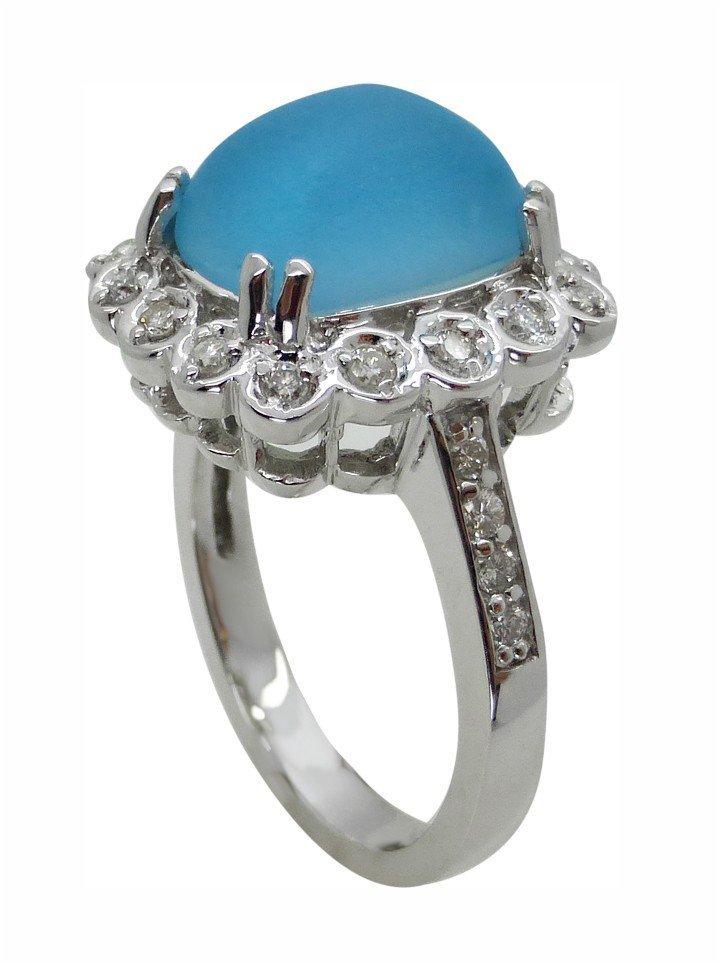 4.42ct Diamond and Blue Topaz 14K White Gold Ring