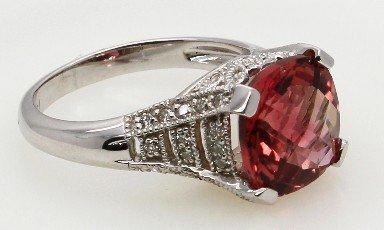 4.89ct Pink Tourmaline and Diamond 14K White Gold  Ring