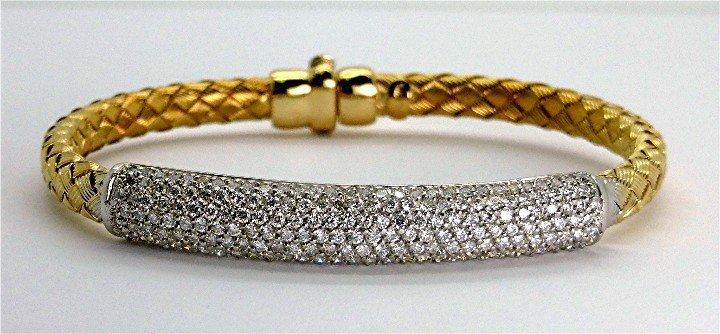 2.20ct Beautiful Diamond 14K Two Tone Woven Bangle
