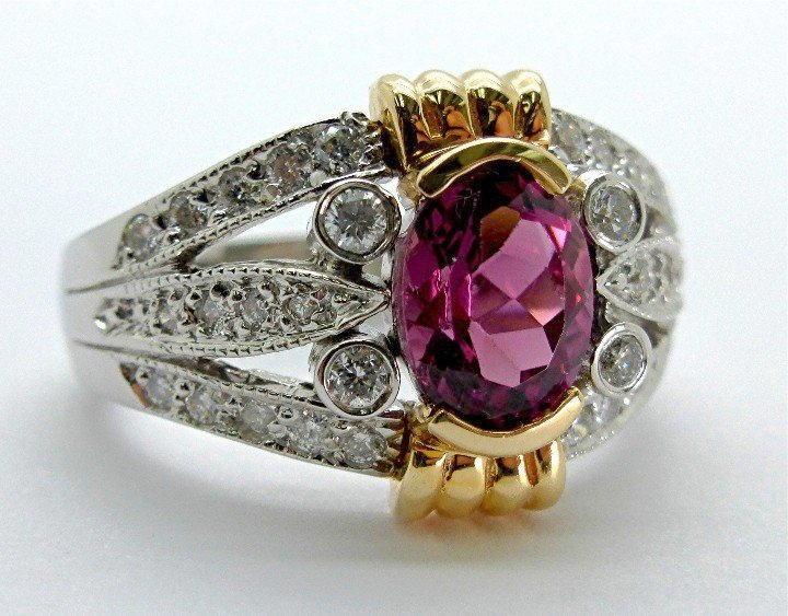 1.68ct Diamond and Pink Tourmaline 14k White Gold Ring