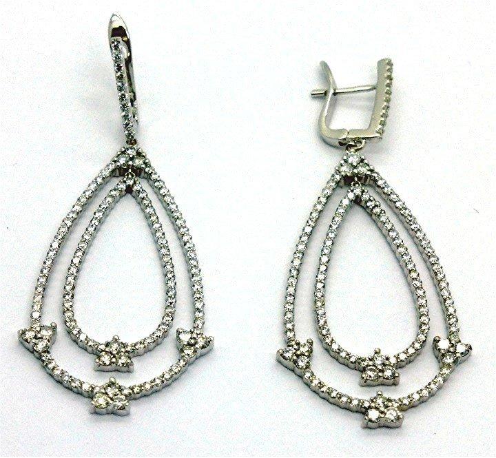 3.51ct Elegant Diamond 14k White Gold Dangling Earring