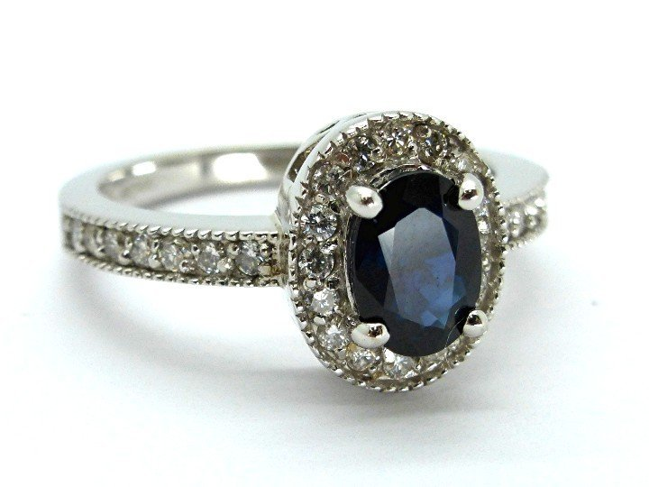 1.48ct Diamond and Saphire 14K White Gold Ring