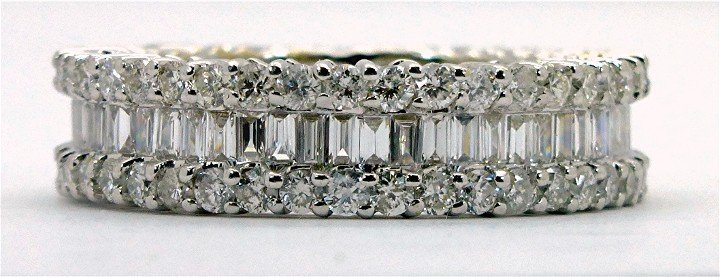 2.76ct Round and Baguette Diamond 18K Gold Eternity