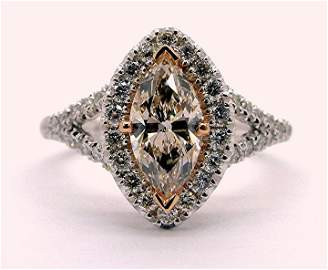 1.44ct Pink Diamond with Halo 14K Gold Ring