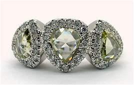 2.22ct Three Stone Diamond 14K White Gold Ring