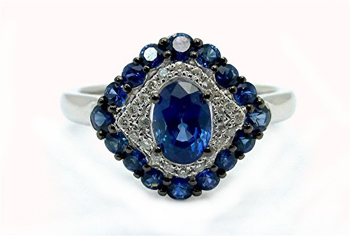 1.36ct Diamond and Royal Blue Sapphire 18K White Gold