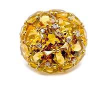 16.85ct Diamond and Citrine 18K Gold Ring