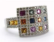 221CT Diamond and Rainbow Sapphire Ring 14K White Gold