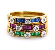 1.26ct Diamond Ruby Emerald and Sapphire Ring 18K Gold