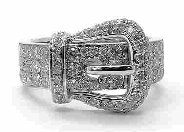1.01ct Diamond Buckle 14K White Gold Ring