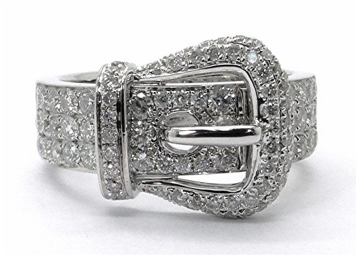 1.01ct Diamond Buckle 14K White Gold Ring