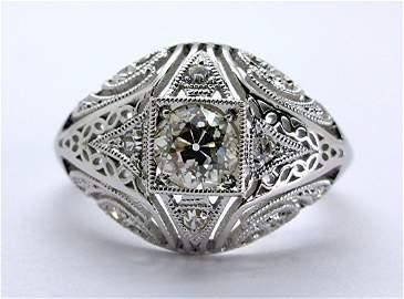 Rare Antique Art Deco Old European Cut Diamond Ring