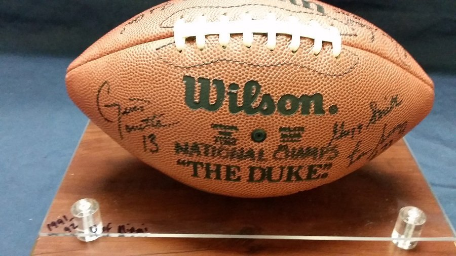 1991 U of Miami National Championship signed football