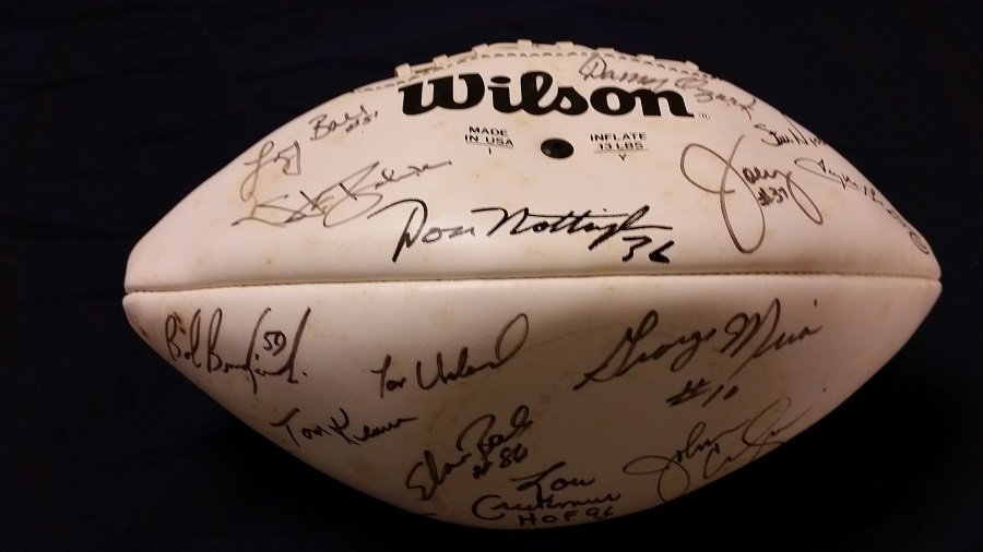 Autographed Football Numerous Signatures