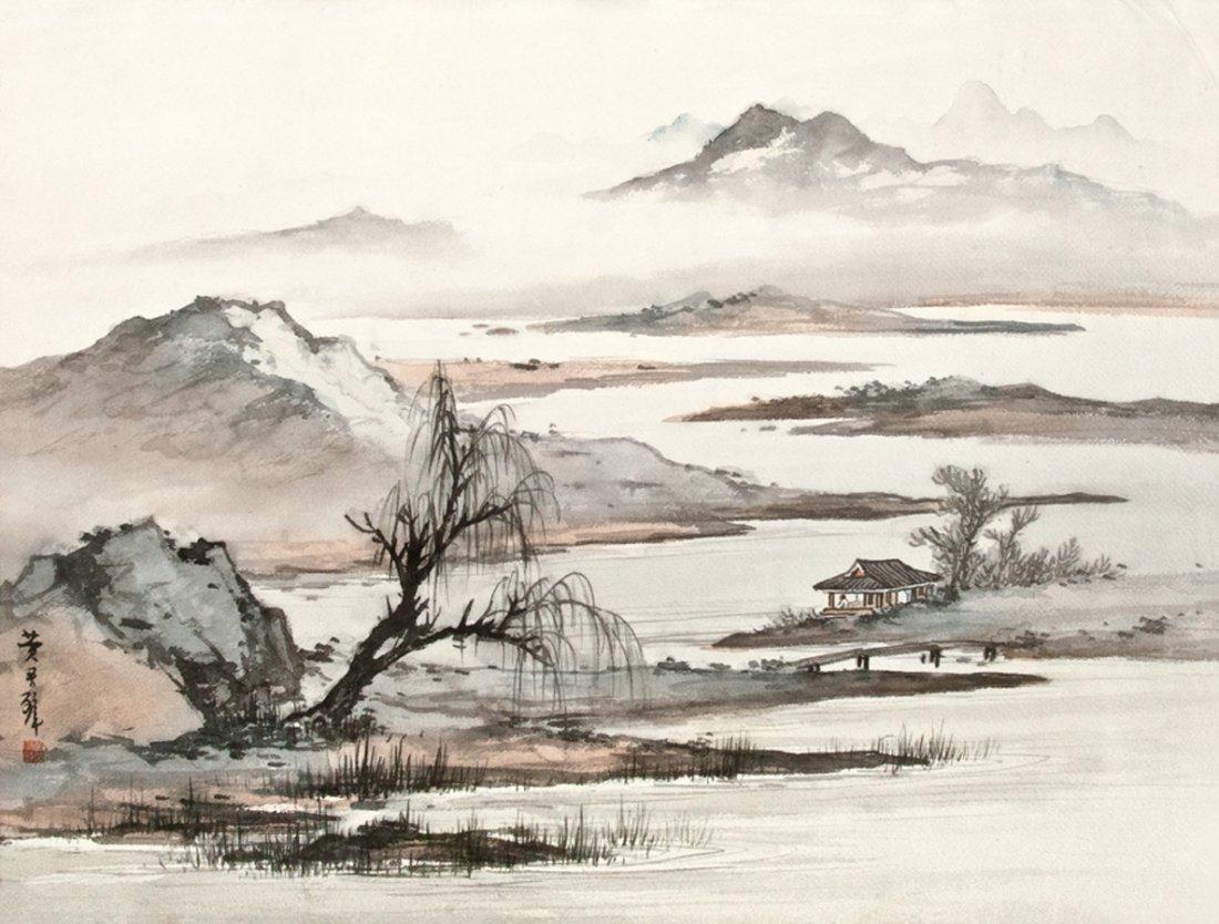 HUANG JUNBI, WILLOW POND IN SPRING