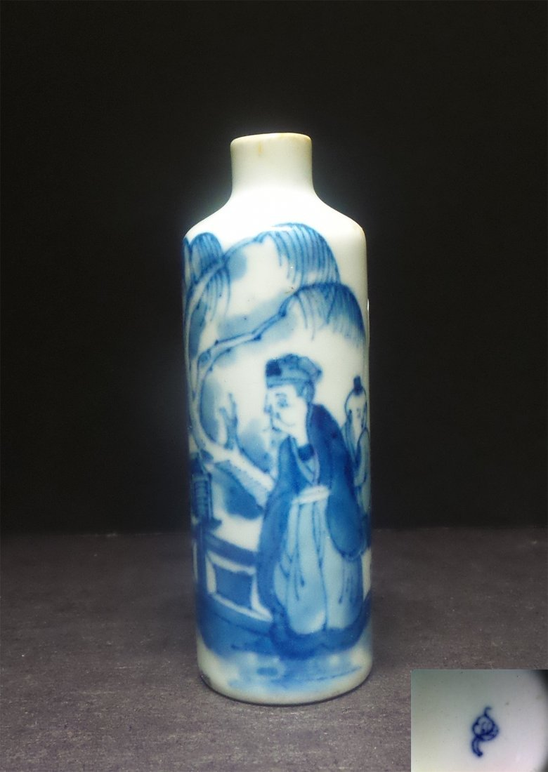 QING. BLUE AND WHITE SNUFF BOTTLE