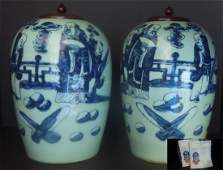 A PAIR OF BLUE AND WHITE DONGGUAZHONG TANK