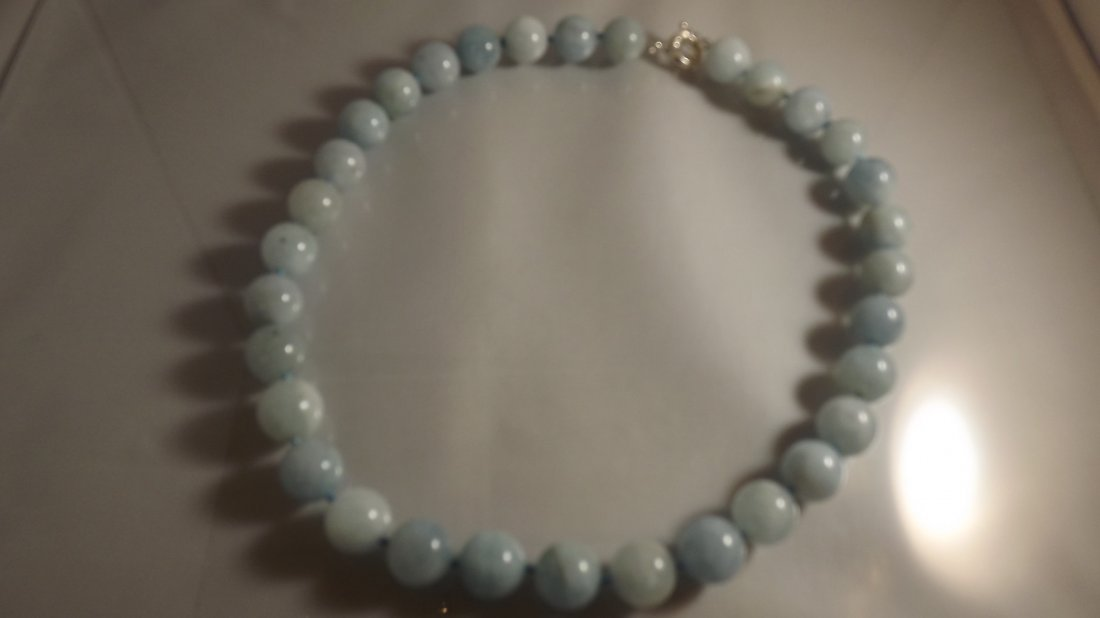 Aquamarine Gem Large bead necklace with silver clasp