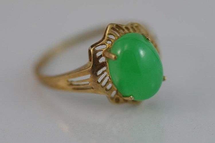 NATURAL CARVE JADEITE RING(GRADE A)GOLD