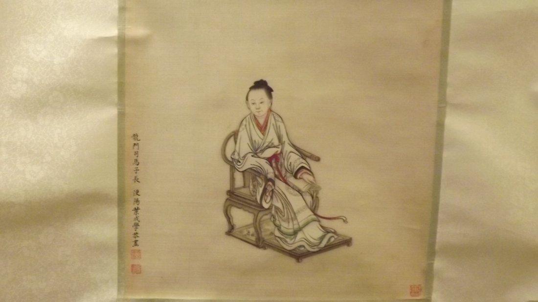 ANTIQUE CHINESE PAINTING工笔画32X30CM