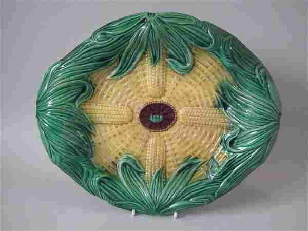 Majolica Corn on Cob Bread Platter