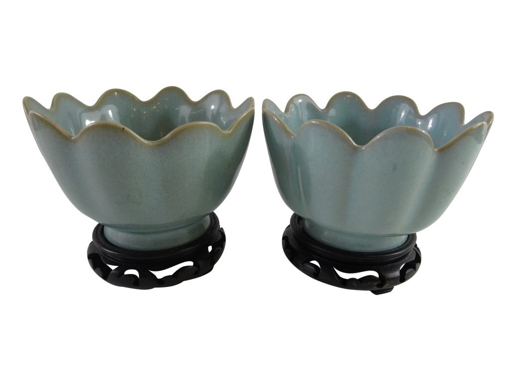CHINESE- TWO  RU STYLE PETAL BOWLS