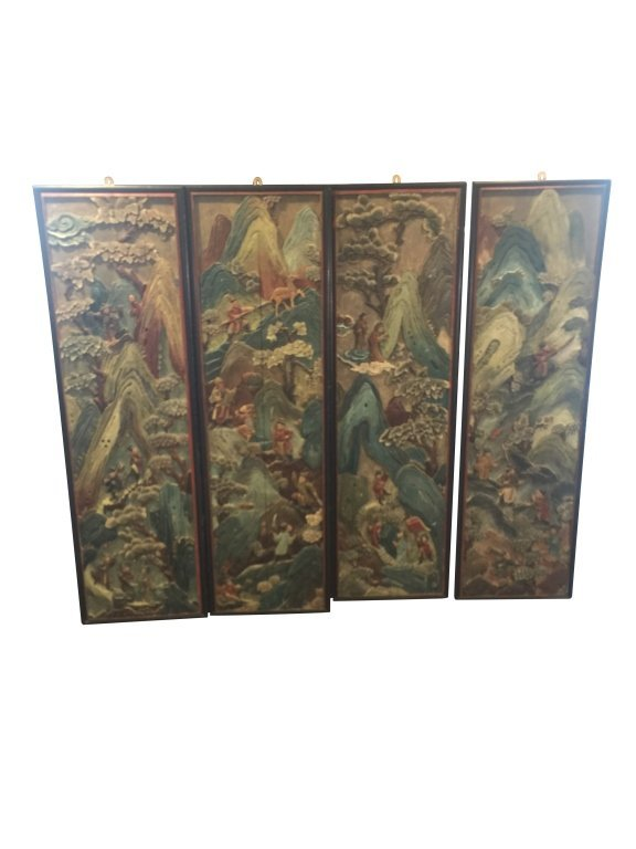 4 Chinese Carved Polychrome Panels Fogg Museum