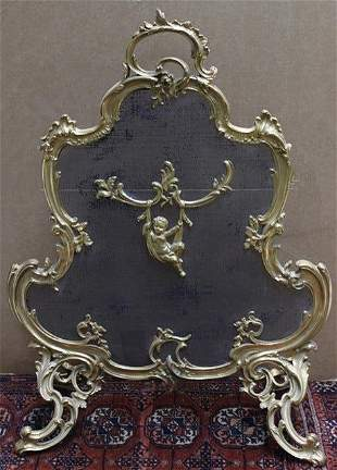 19th Century Gilt Bronze Fires Screen