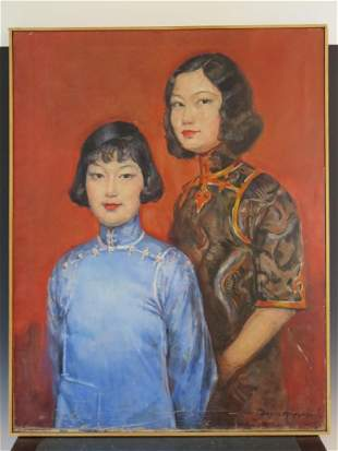 Antique Chinese Oil Painting on Canvas Signed