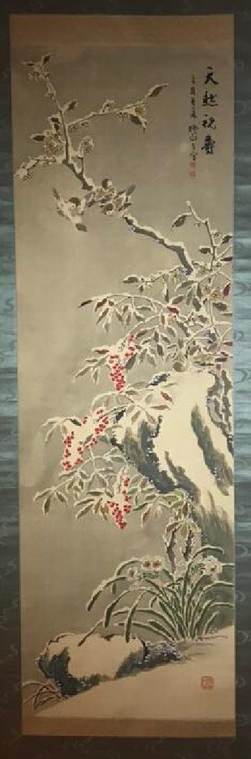 Chinese Silk Birds&Flowers Scroll Painting