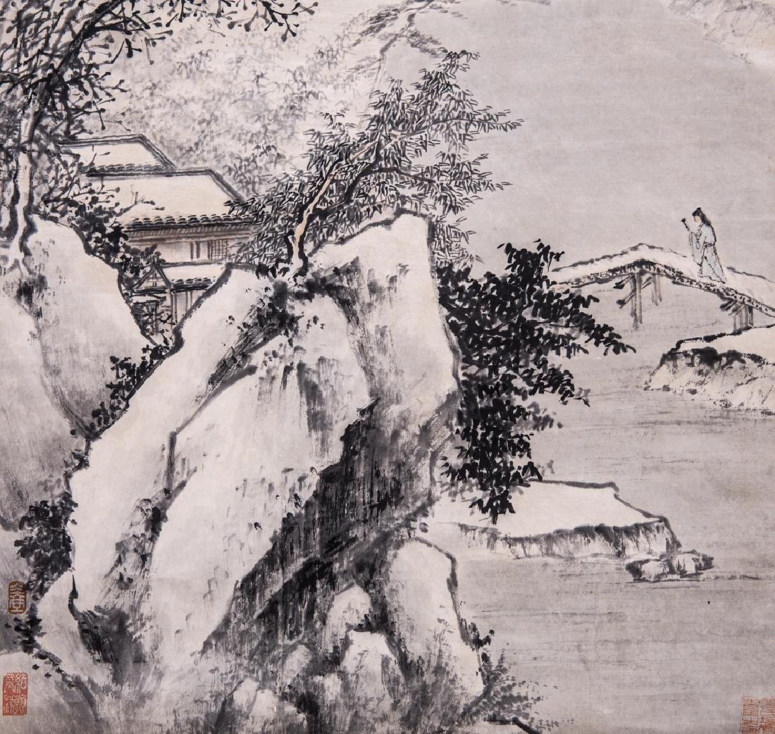 Chinese Ink Color Landscape Painting ,Signed - 5