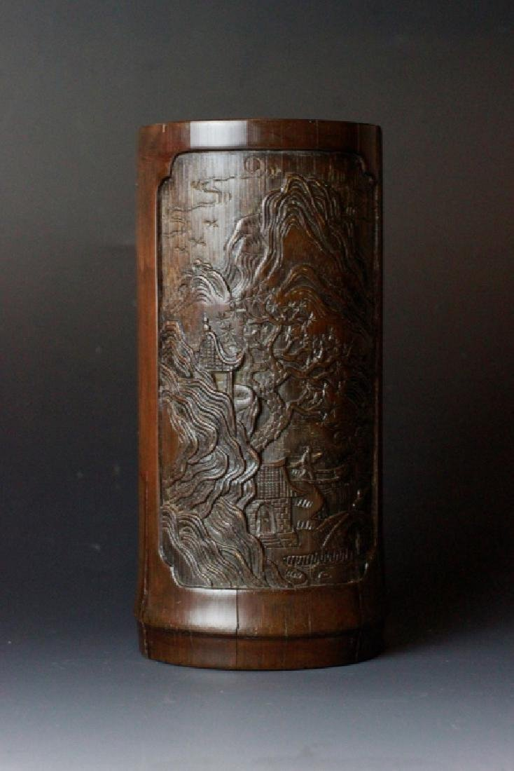 18th C. Chinese Bamboo Carved Brush Pot