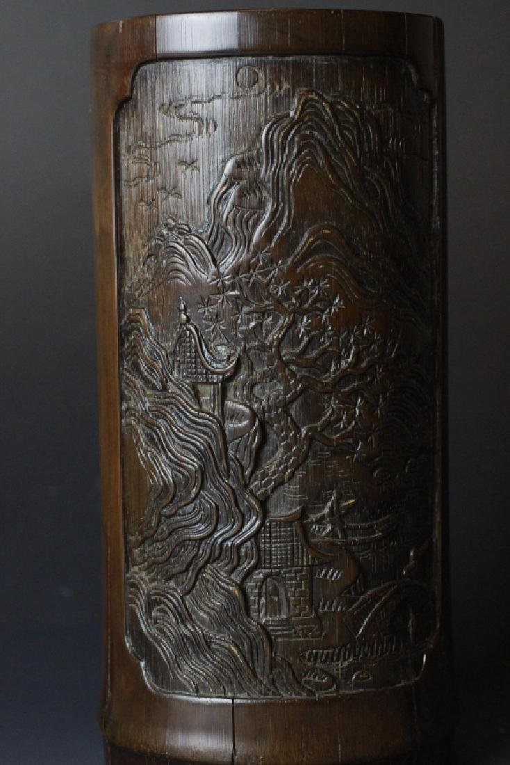 18th C. Chinese Bamboo Carved Brush Pot - 4