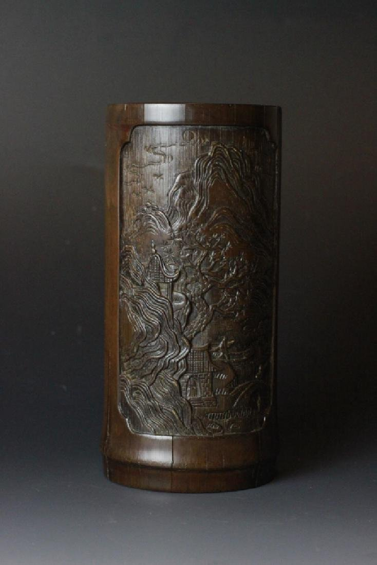 18th C. Chinese Bamboo Carved Brush Pot - 7
