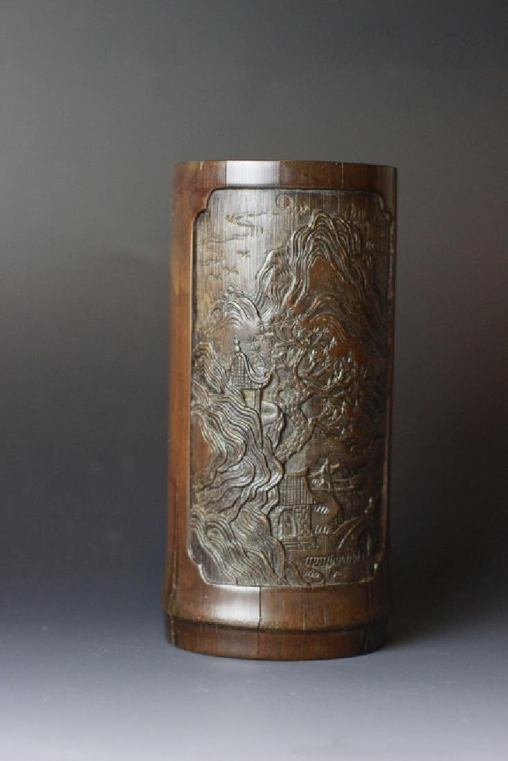18th C. Chinese Bamboo Carved Brush Pot - 8