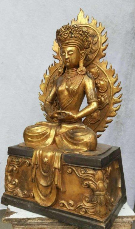 Chinese Gilt Bronze Seating Buddha - 2