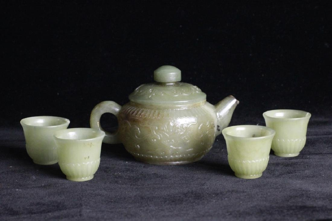 Set of Chinese Jade Teapot and Cups