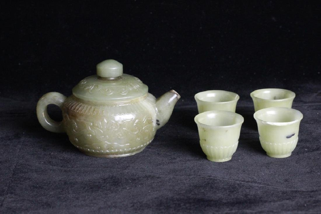 Set of Chinese Jade Teapot and Cups - 5