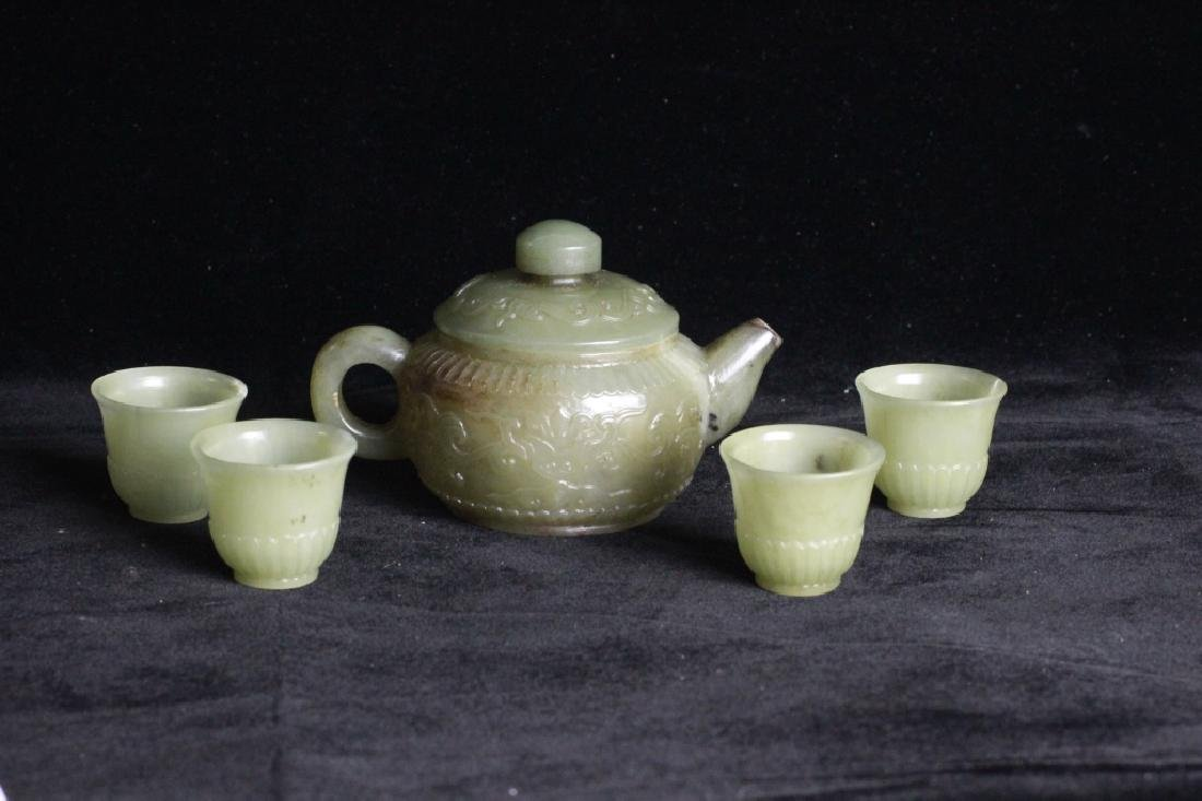 Set of Chinese Jade Teapot and Cups - 7