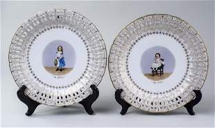 19C Pair of Sevres Style Cabinet Plates