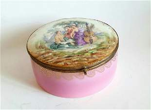 Antique French Porcelain Painted Large Box